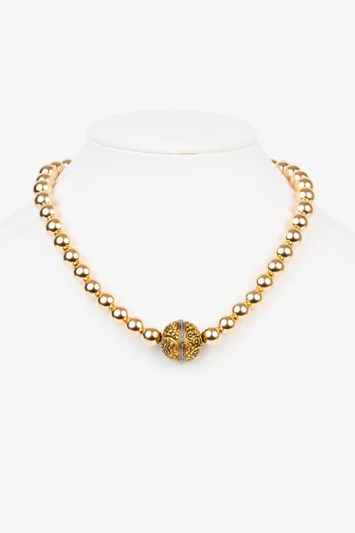 Pave Diamond, 10 MM Gold Filled Bead Necklace