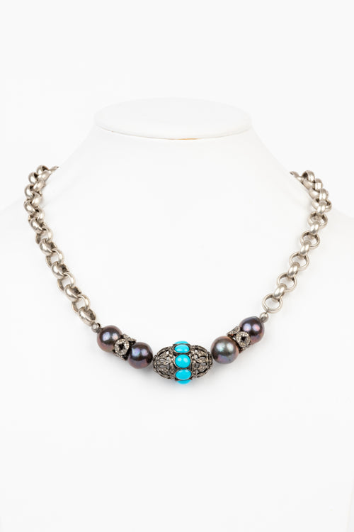 Pave Diamond, Turquoise , Pearl Necklace