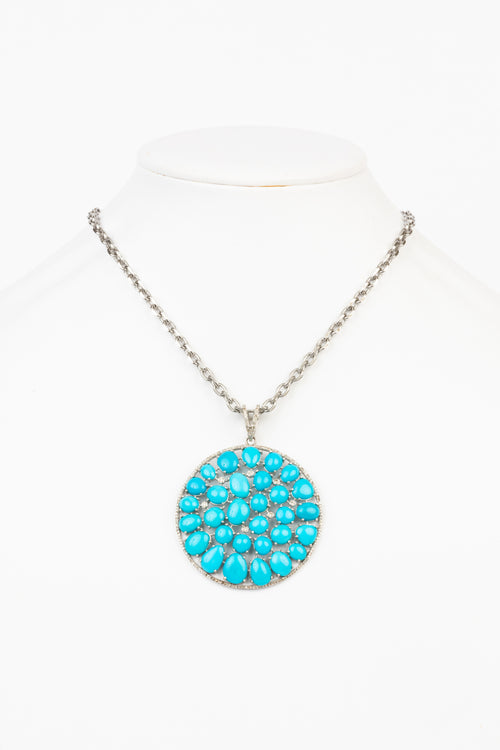 Pave Diamond, Turquoise Necklace
