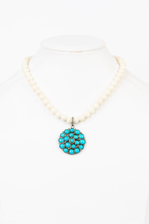 Pave Diamond, Turquoise , Coral Necklace
