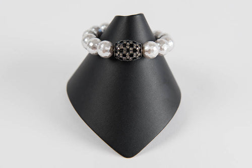 White mother of pearl and pave diamond black rhodium bead