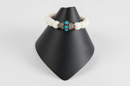Bone with pave diamond and turquoise bead
