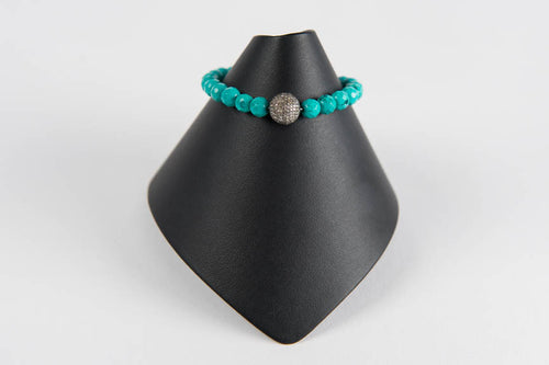 Faceted turquoise with pave diamond bead