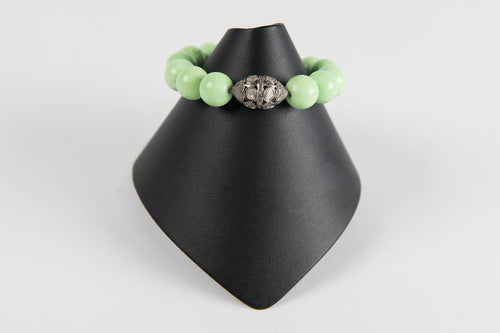 Lime agate with rose cut diamond bead