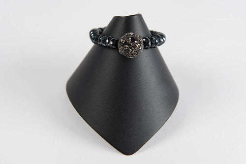 Faceted black spinel rondelles with black spinel bead