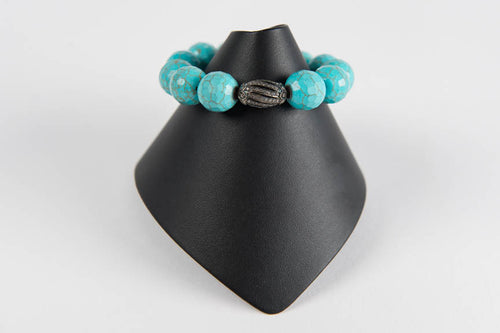 Turquoise agate with pave diamond bead