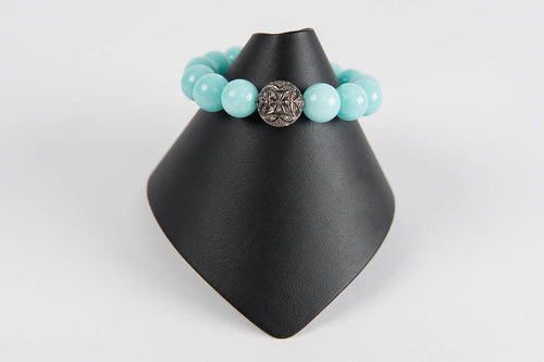 Aqua chalcedony with pave diamond bead