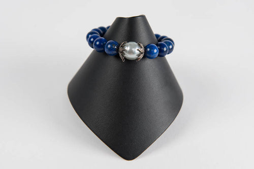 Lapis with mother of pearl and diamond bead caps