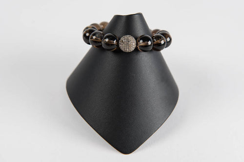 Smoky quartz with pave diamond bead