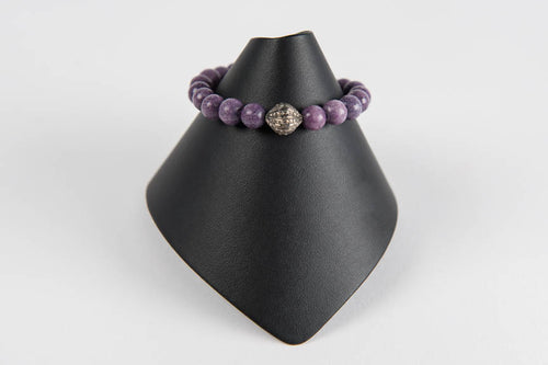Purple agate with pave diamond bead