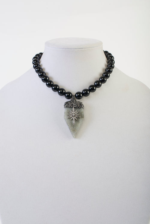 Black Onyx with Labradorite and Gunmetal Crystal