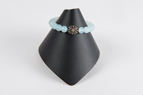 Light blue chalcedony with pave diamond flower