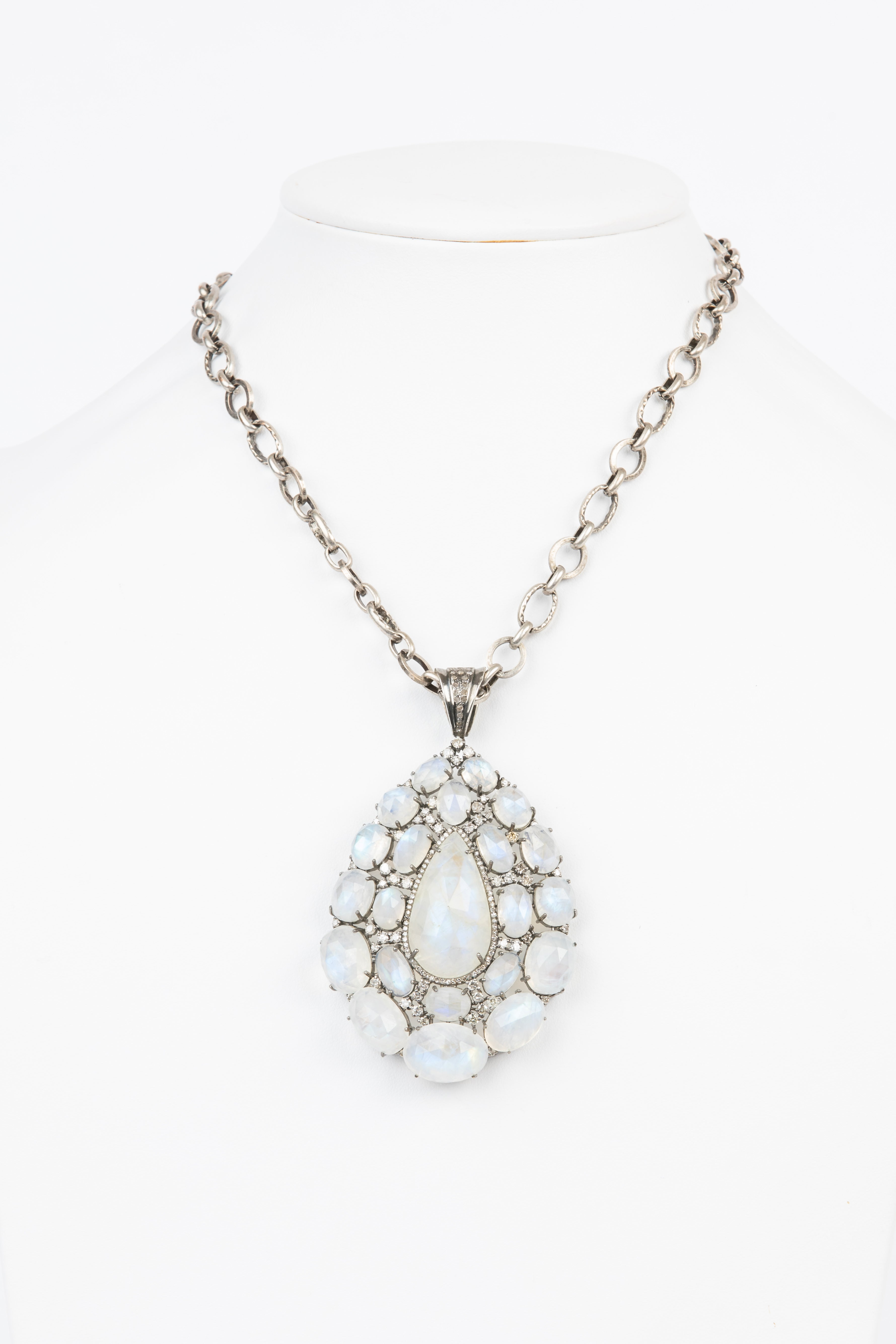 Pave Diamond, Moonstone Necklace