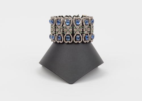 Pave Diamond, Kayanite, Tsavorite cuff bracelet