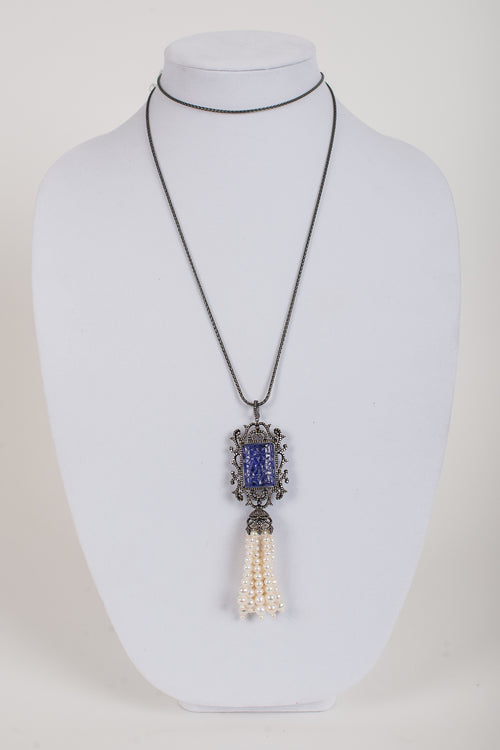 Pave Diamond with Carved Sapphire and Freshwater Pearl Pendant, Gunmetal Chain
