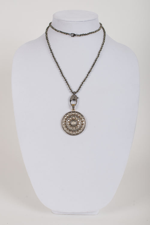 Rose Cut Diamond Pendant set in Vermeil on Pyrite and  White Topaz Chain