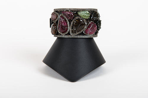 Pave Diamond and Carved Tourmaline Cuff