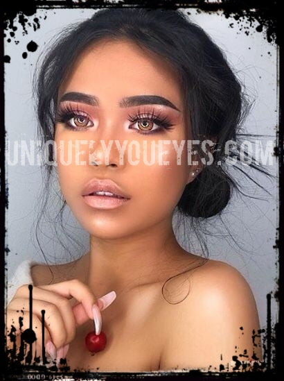 NATURAL Deep COLOR Brown Hazel Blends Coloured contacts