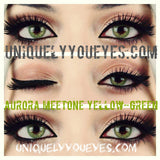 NEW ARRIVAL Aurora Meetone YELLOW-GREEN Natural Colored Contacts-Hidrocor/Aurora-UNIQUELY-YOU-EYES