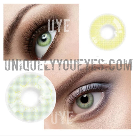 ELECTRICALLY NATURAL Grayish GREEN Lightning COLORED CONTACT LENS GOSSIP GIRL