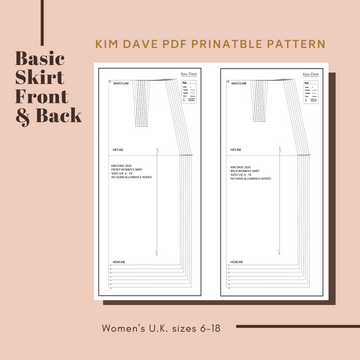 PDF Basic Skirt Printable Sewing Patterns U.K. Size 6 - 18