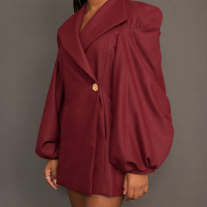 Burgundy wool blazer dress with balloon sleeves and wide lapels by Kim Dave