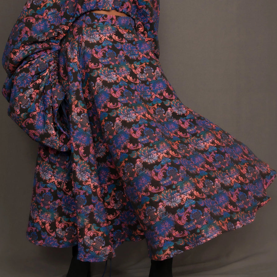 Full circle midi skirt in multi colour jacquard fabric with pockets by Kim Dave