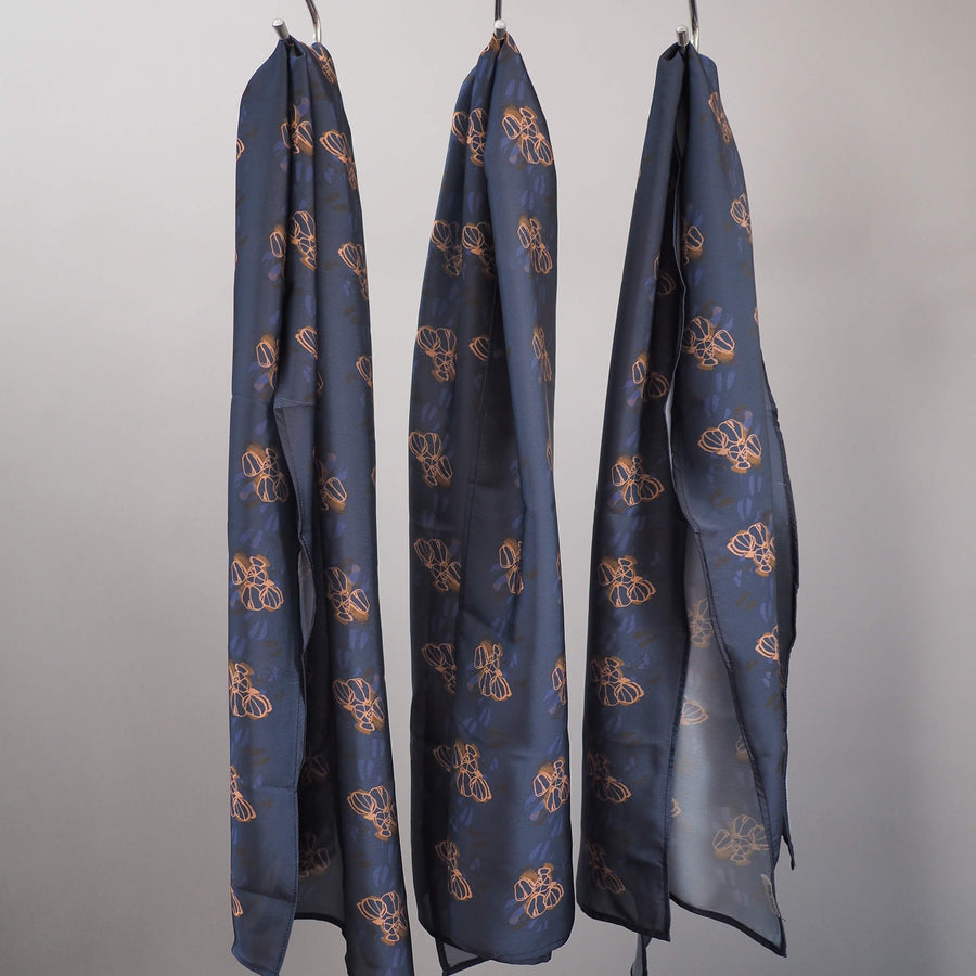 Navy sateen scarf by Kim Dave