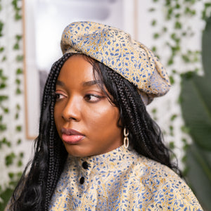 Isio Beret in Gold/Blue