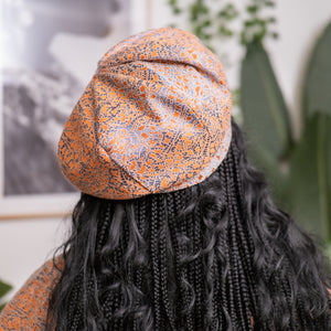 Isio Beret in Terracotta/Blue