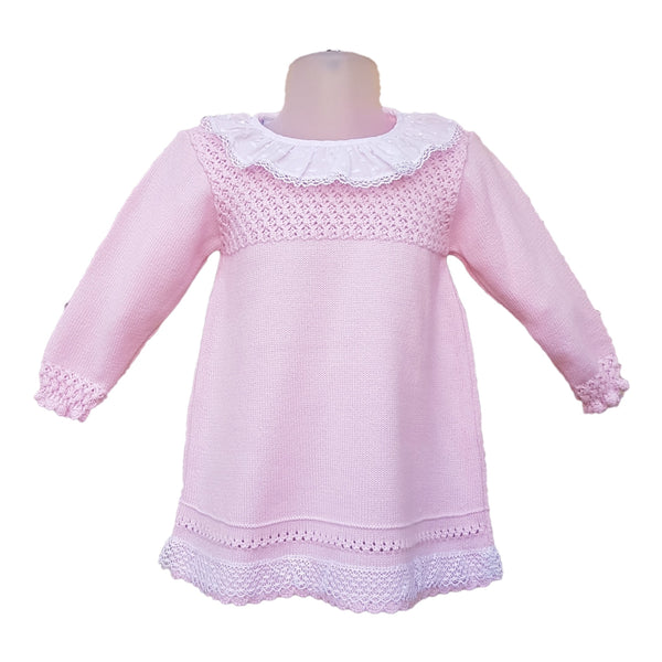 Granlei Pink Knitted Dress with Frill Collar - Arabella's Baby Boutique