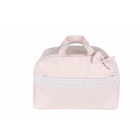 Pink Bow and Lace Baby Changing Bag - Arabella's Baby Boutique