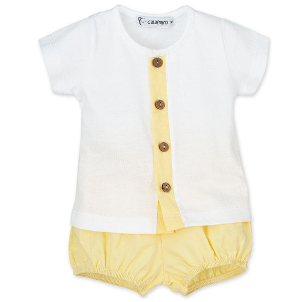 Calamaro - White & Lemon Short Set - Arabella's Baby Boutique