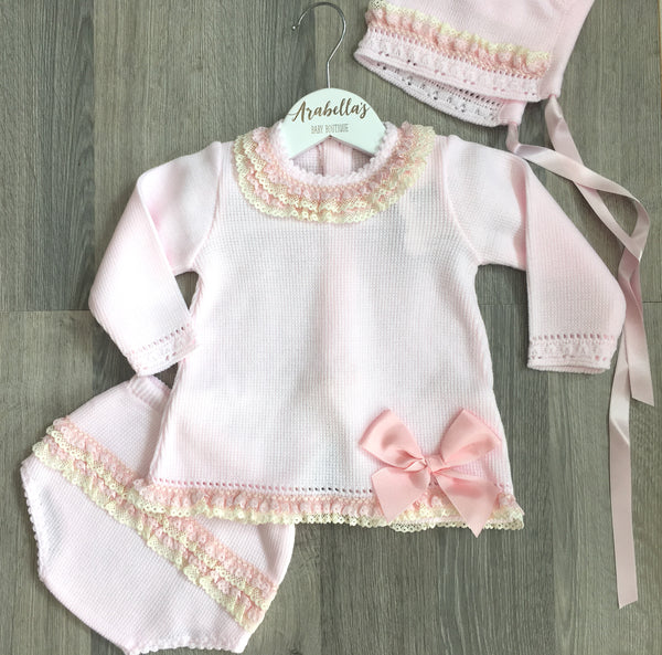 CHA-O BABY - baby pink knitted outfit with sequin collar - Arabella's Baby Boutique