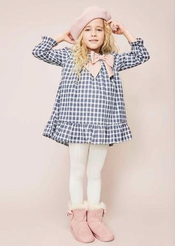 Dadati Pink & Navy Check Dress - Arabella's Baby Boutique