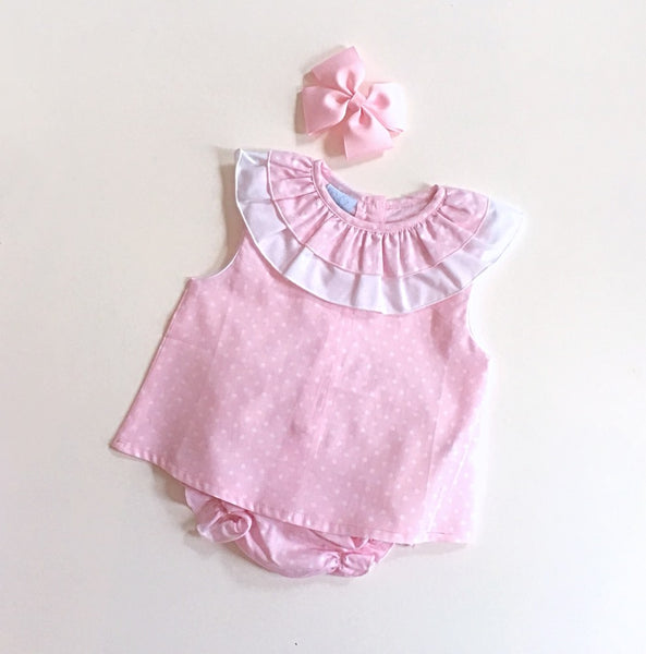 'Dotty' Pink Polka Dot 2 Piece with Ruffle Neck - Arabella's Baby Boutique