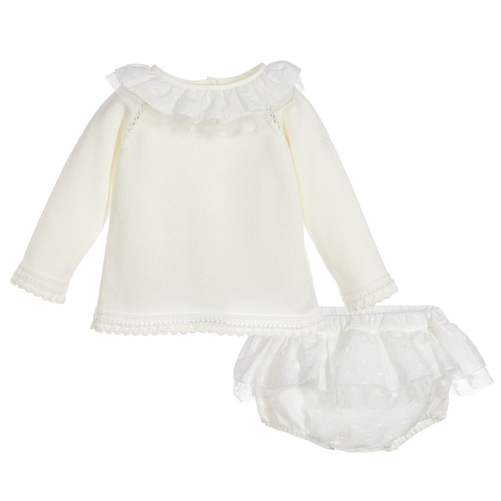 484acb90a Granlei Ivory Knitted Girl s Jam Pant Set at Arabella s Baby Boutique