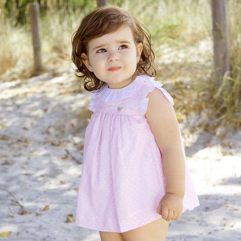 'Sadie' Pink Polka Dot Dress with Ruffles - Arabella's Baby Boutique