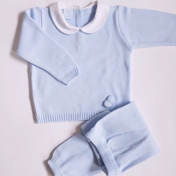 Granlei Knitted Tracksuit Baby Blue - Arabella's Baby Boutique