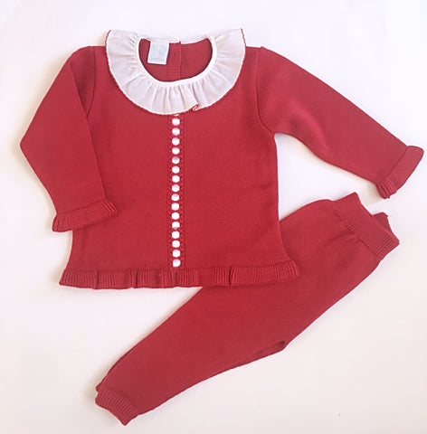 Red Granlei Knitted Tracksuit - Arabella's Baby Boutique