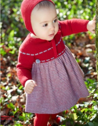 GRANLEI - Red and grey dress with pompoms - Arabella's Baby Boutique