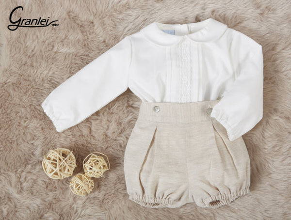 Granlei Boys Beige Short Set - Arabella's Baby Boutique