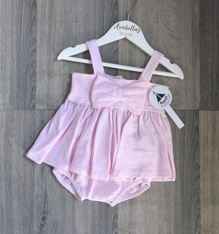 'Chloe' Pink Cotton Bow 2 Piece Outfit - Arabella's Baby Boutique