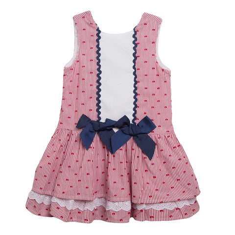 Newness Red & Navy Heart Dress - Arabella's Baby Boutique