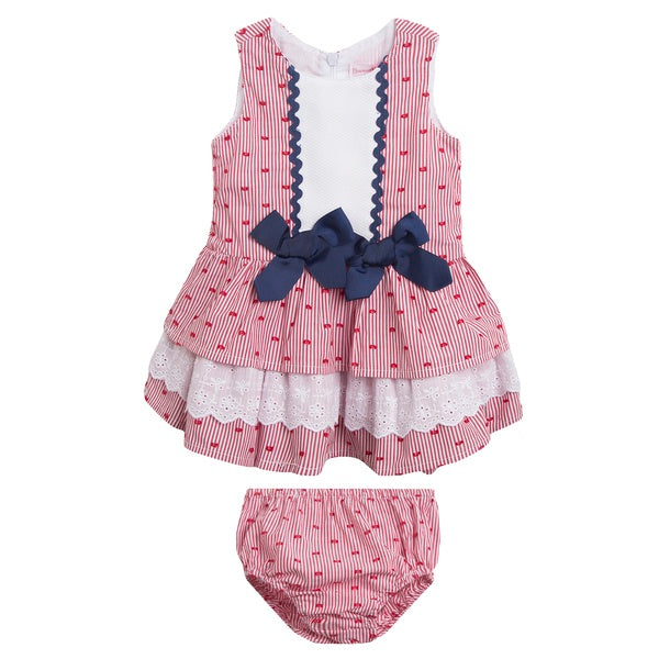 Newness Red & Navy Heart Baby Girl's Dress - Arabella's Baby Boutique