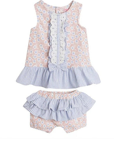 Newness Pink & Blue Flower Dress Set - Arabella's Baby Boutique