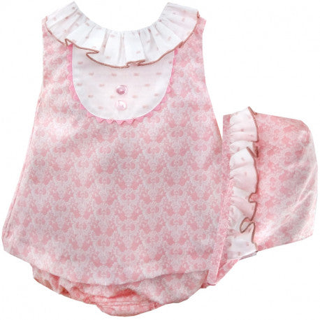'Fiorella' Baby Pink Three Piece Set with Bonnet - Arabella's Baby Boutique
