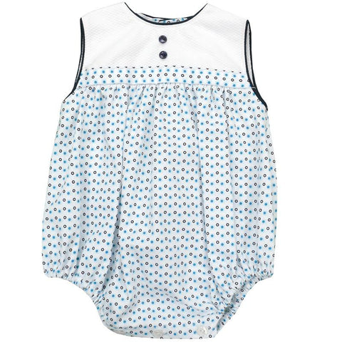 Calamaro - White & Blue Romper - Arabella's Baby Boutique