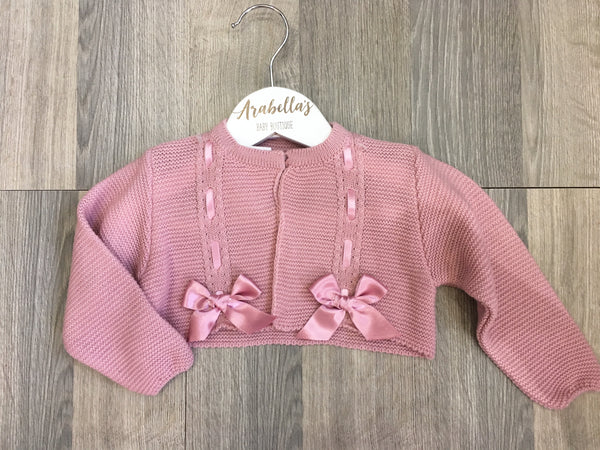 VB BY JULIANA - Dusky Pink Bow Cardigan - Arabella's Baby Boutique
