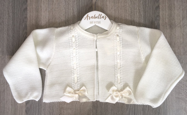 VB BY JULIANA - Ivory knitted cardigan with bows - Arabella's Baby Boutique